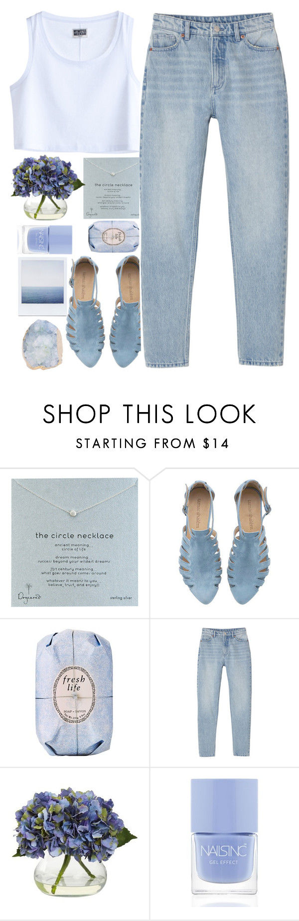 """""""blue"""" by monicanne ❤ liked on Polyvore featuring Dogeared, Fresh, MTWTFSS Weekday, Monki, Nearly Natural and Nails Inc."""