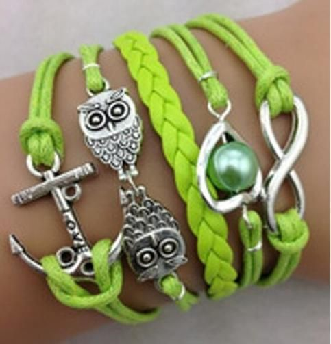 Item+Type:Package  Gender:+Female/Male  Acc+Type:+Bracelet  Metal+Type:+Alloy,Wax+String  Colors:+Green  Shape/Pattern:+Owl  Length:+17cm  Weight:+12g  Package+Contents:+1+x+Bracelet  Manual+measurement,+there+exist+a+few+errors