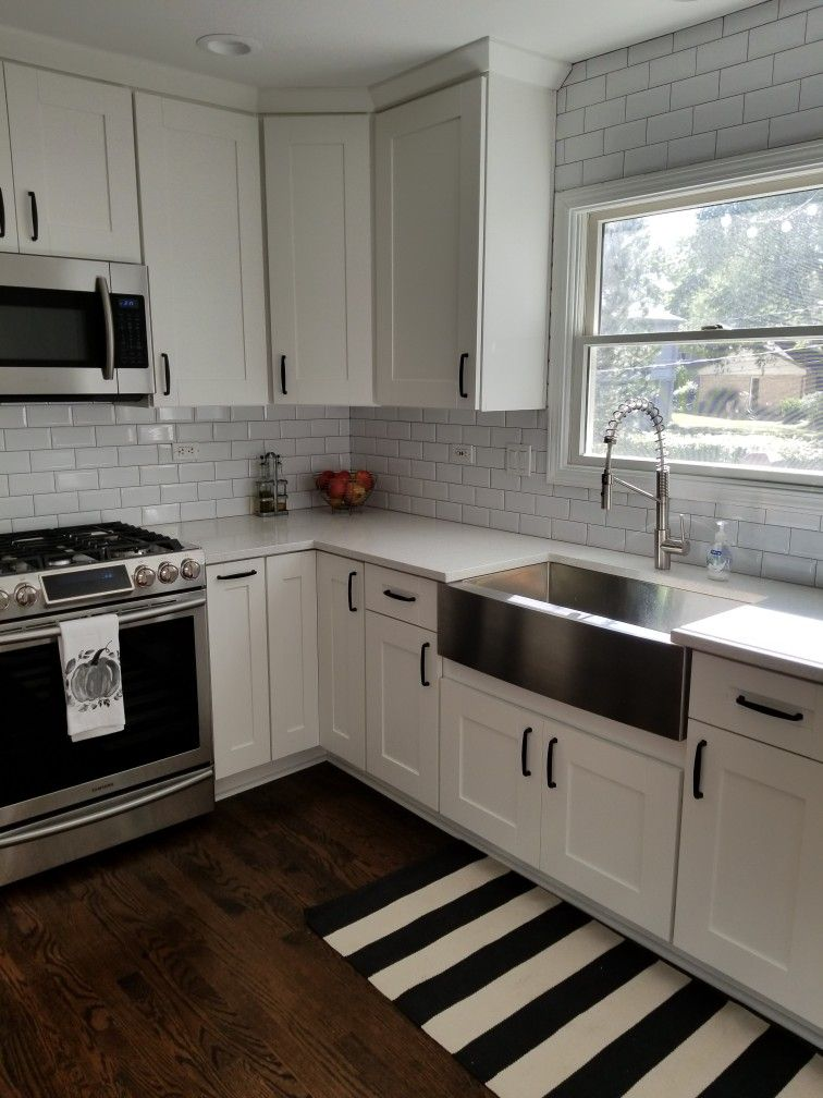 White Kitchen Cabinets Stainless Steel Farmhouse Sink Kitchen Color White Concrete Countertops Kitchen Kitchen Renovation