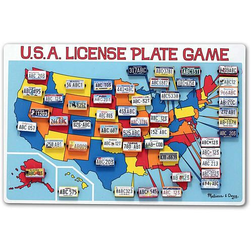 Melissa Doug Flip To Win Travel License Plate Game Wooden U S Map Game Board