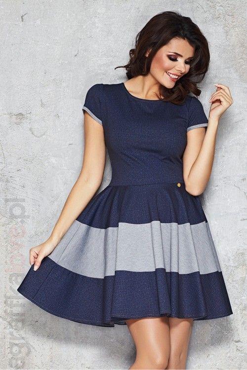 Absolutnie Modna Sukienka Rozkloszowana Jeansowa Ifm038 Granatowa Casual Dress Fashion Sewing Dresses