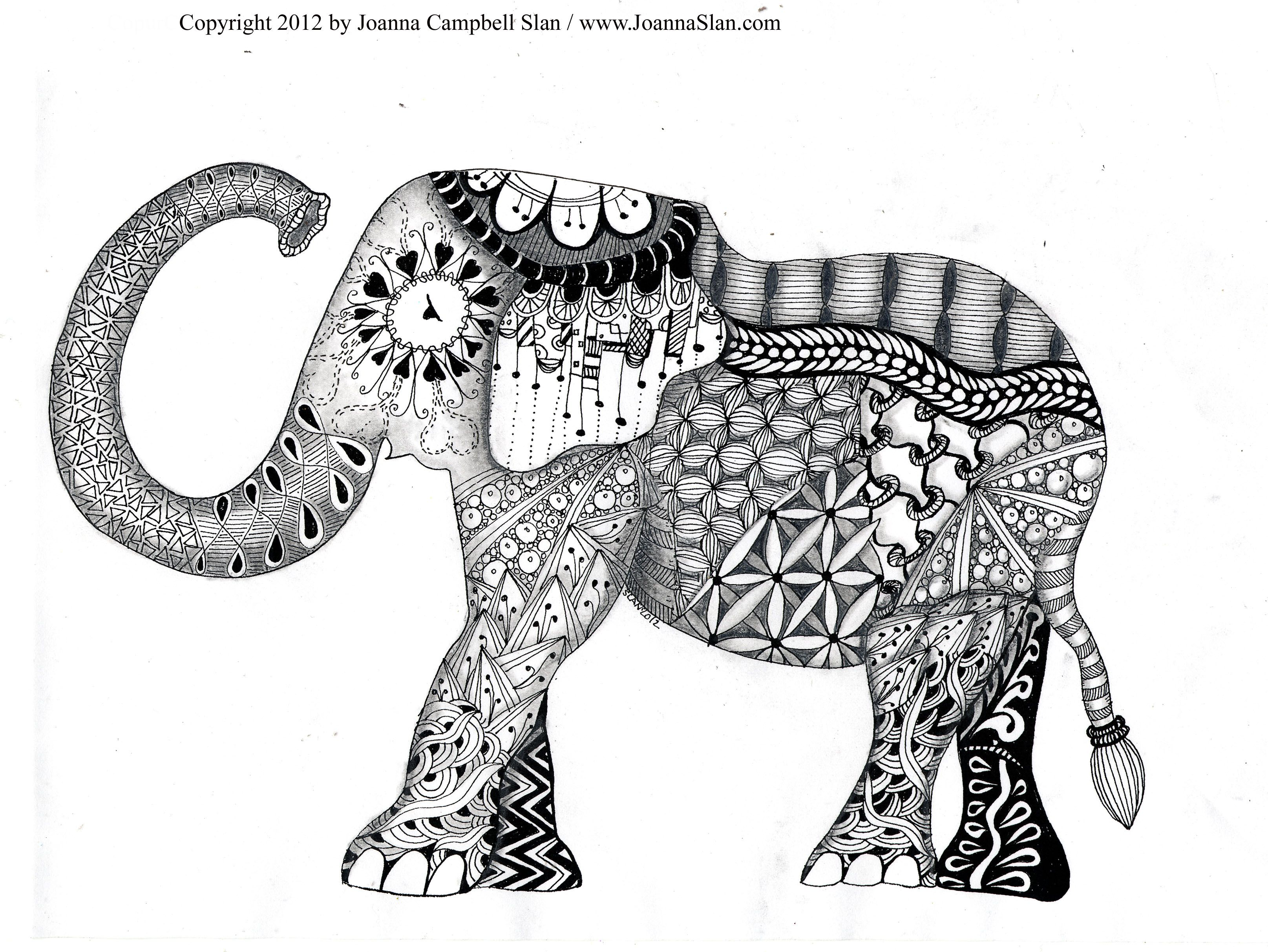 Free printable zentangle coloring pages for adults - Elephant Zentagle Coloring Page