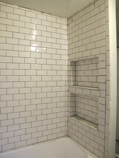Subway tiles with pocket storage built in vintage for Redoing bathroom walls