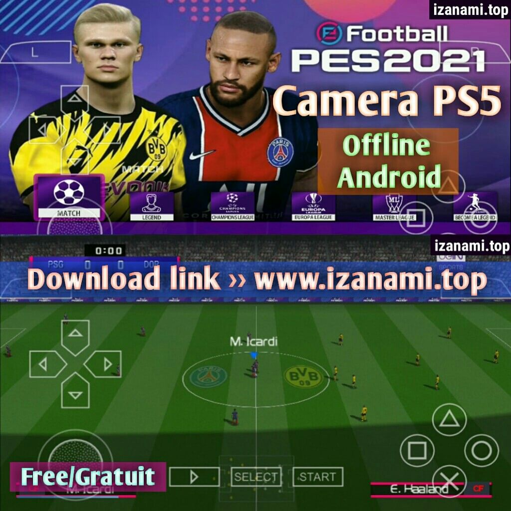 Nouveau) PES 2021 PPSSPP Camera PS5 Android Offline |