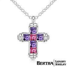 European And American Brand Luxury Cross Cruz Multicolor Crystal Necklaces Pendants Female Cross Necklace Accessories Jewelry