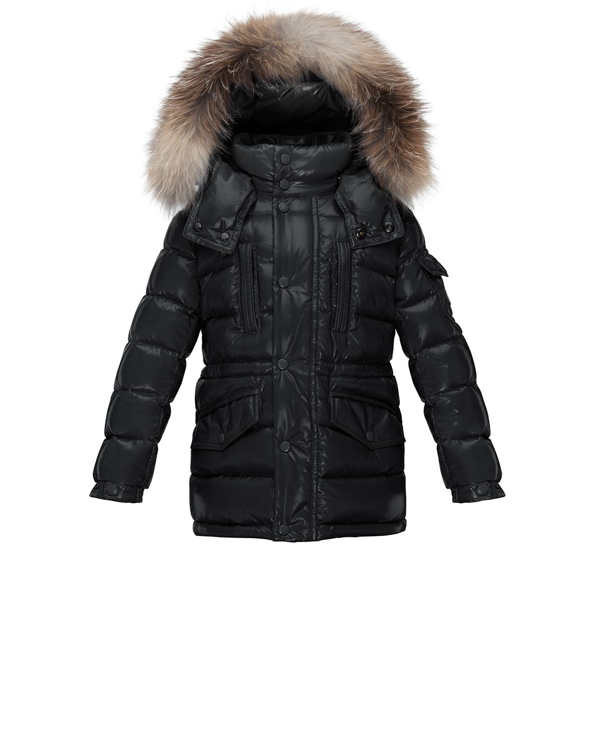 662c3b543 Hooded Fur-Trim Button-Front Puffer Coat