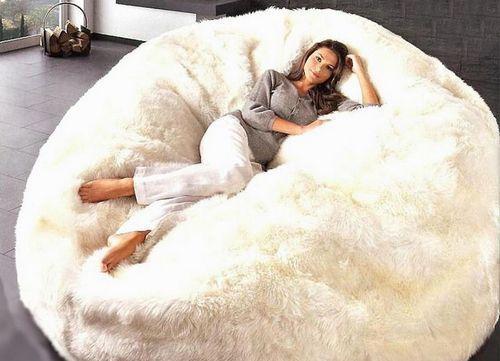 Giant Bean Bag White Fur Cuddle Chair