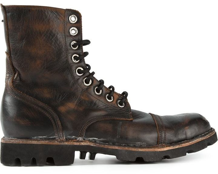 Diesel 'Steel' lace up boots, Black leather 'Steel' lace up boots