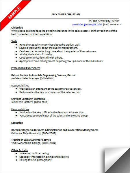 Car Sales Resume Sample Resume Examples Pinterest Sales resume