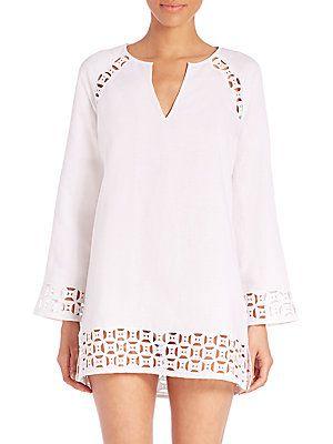 173fb3c69898f1 Tory Burch Swim Embroidered Linen Cutout Tunic - White