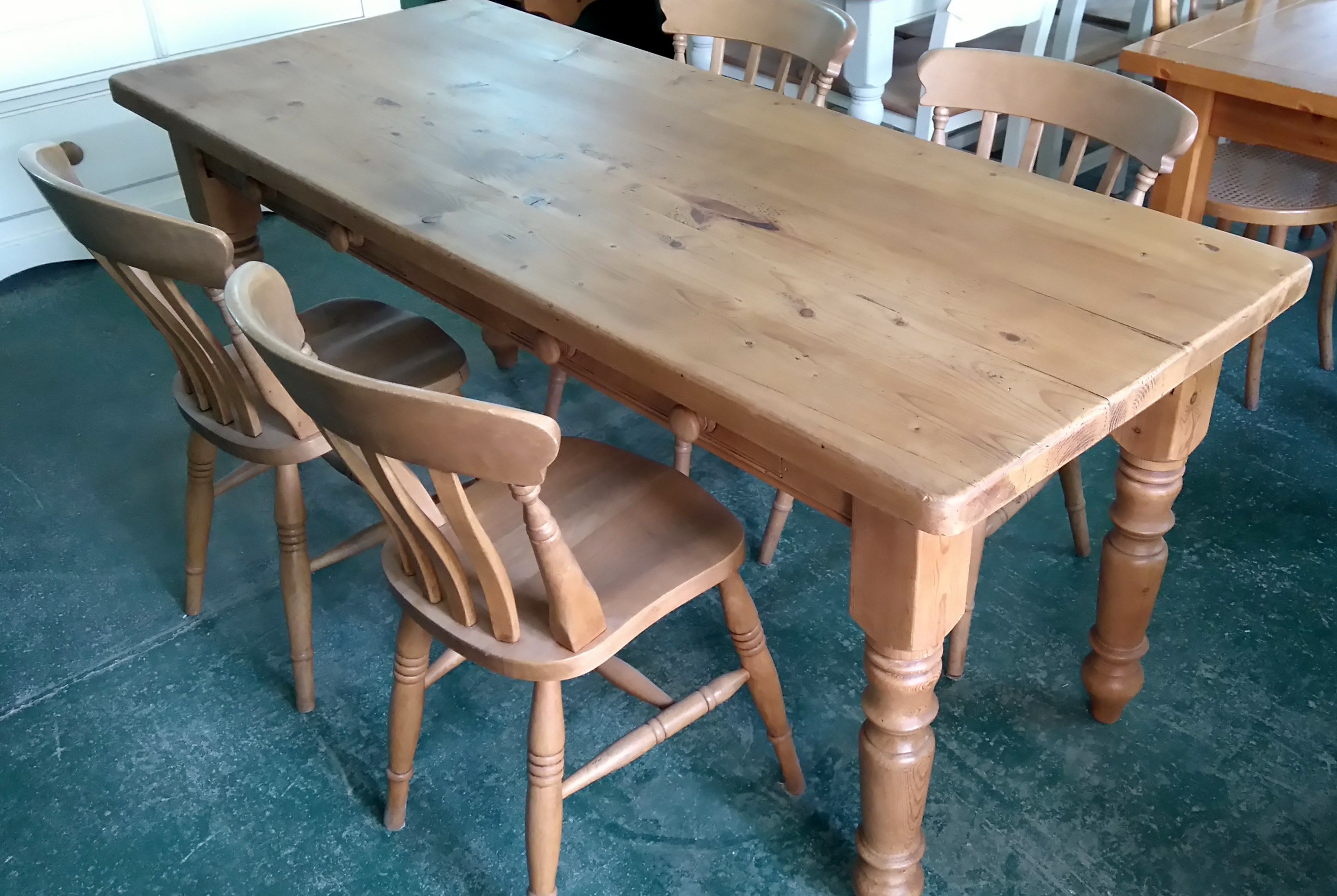 pine 6ft farmhouse rustic table with 2 side drawers 365 original rh pinterest co uk Red Enamel Top Table Antique Enamel Kitchen Tables