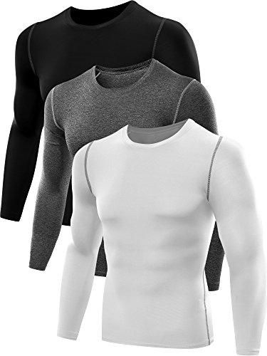 98711c0b628 Neleus Men s 3 Pack Athletic Compression Sport Running T Shirt Long Sleeve Base  Layer
