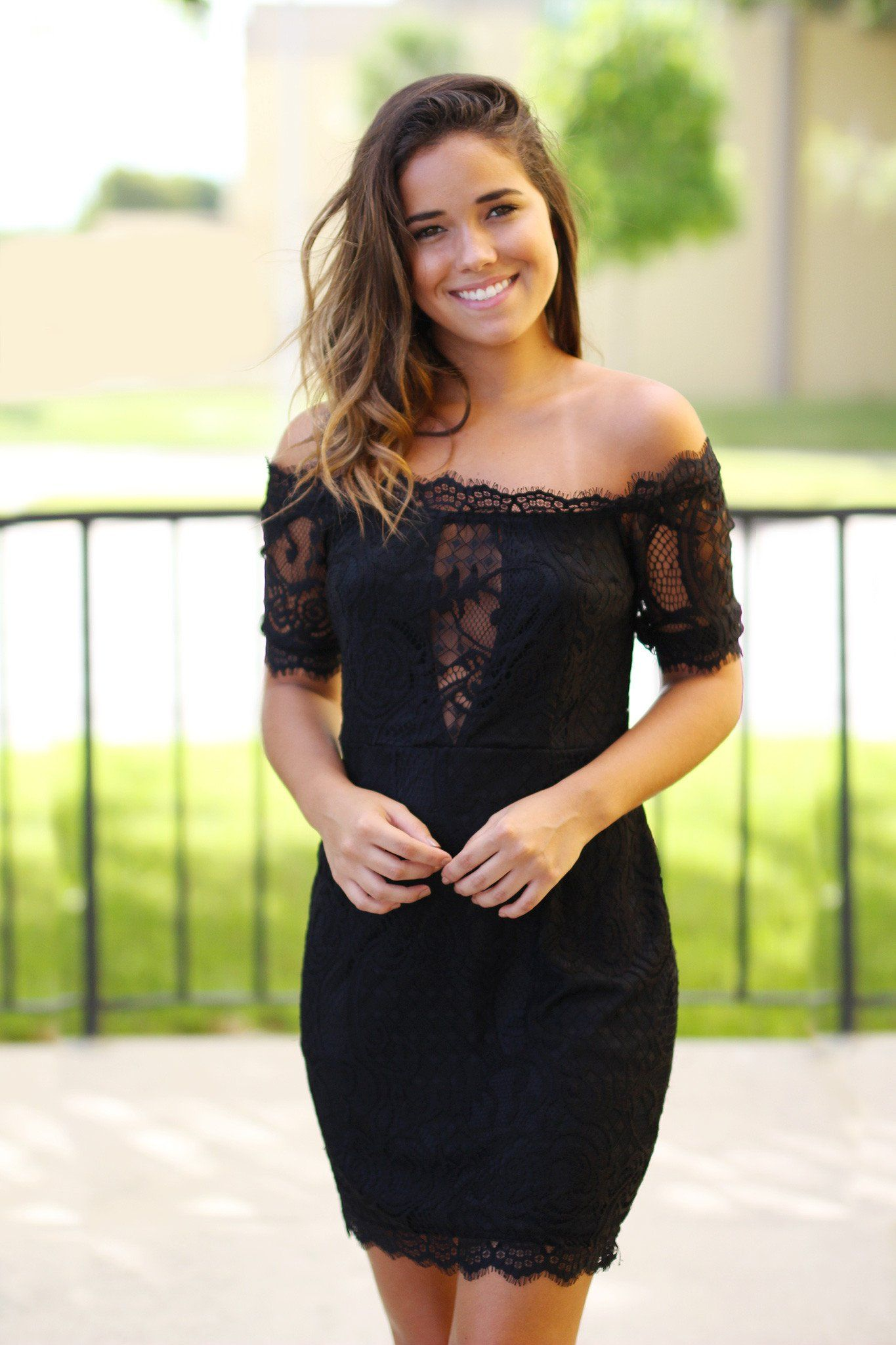 Black lace off shoulder short dress cute stuff pinterest black