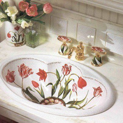 KOHLER Fables U0026 Flowers Bathroom Sink And Faucet   We Have This Sink, Now  How To Use It For The Half Bath?
