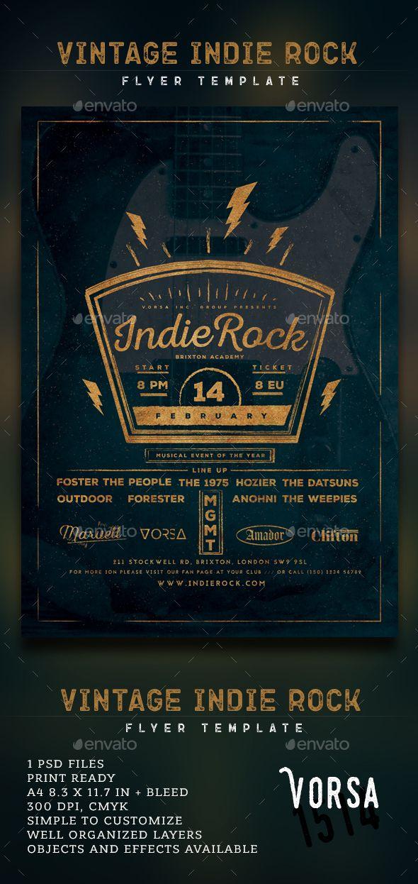 Vintage Indie Rock Flyer Flyer Template Font Logo And Logos