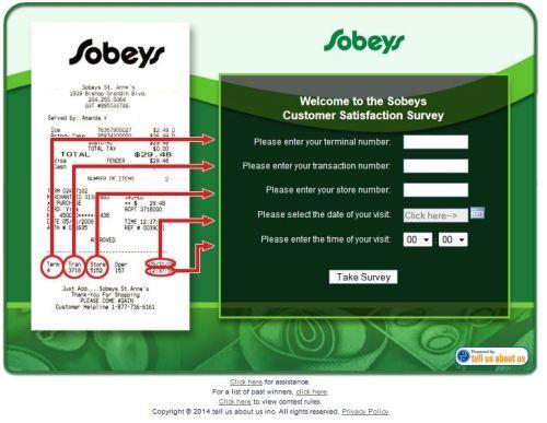 Sobeys Customer Satisfaction Survey, wwwyourfeedbackto - customer survey