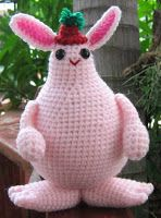 free amigurumi crochet pattern of a pink rabbit monster witch for Halloween