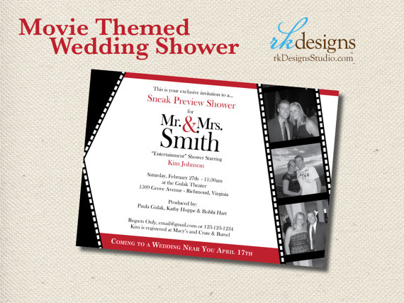 movie themed wedding shower invitation and envelope entertainment theme bridal or couples shower