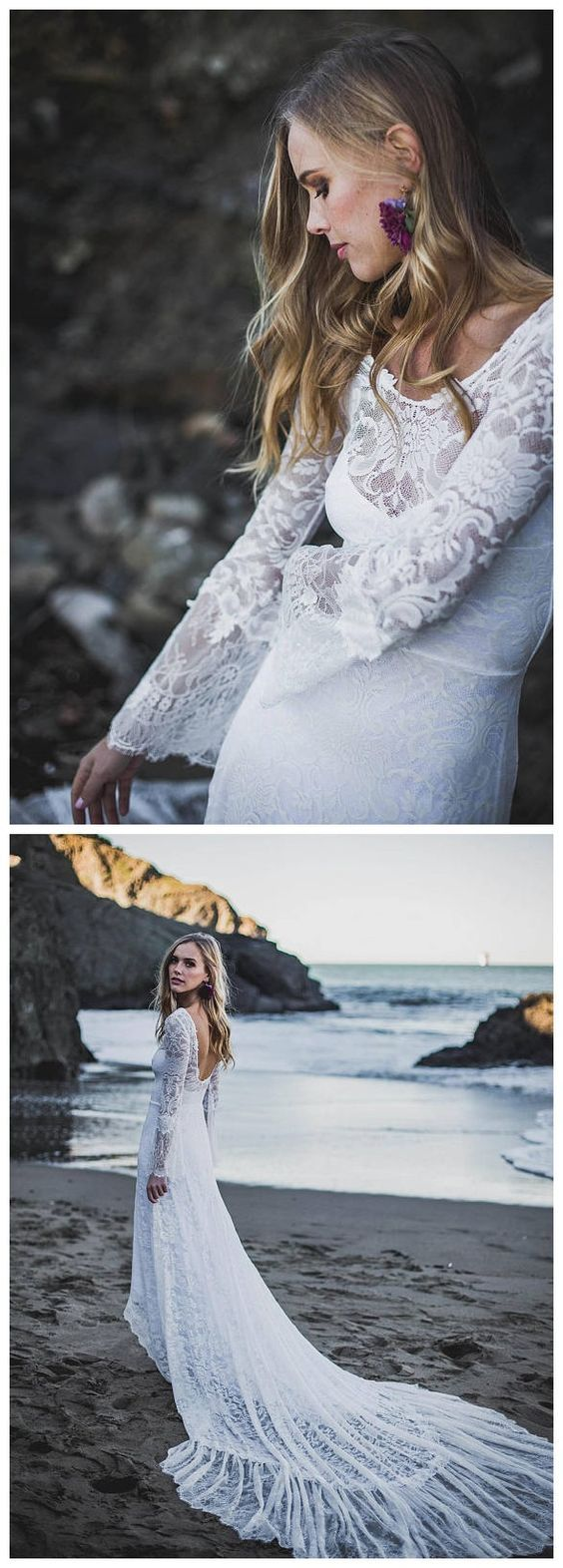 Long sleeve white rustic wedding dresses high low cute close in