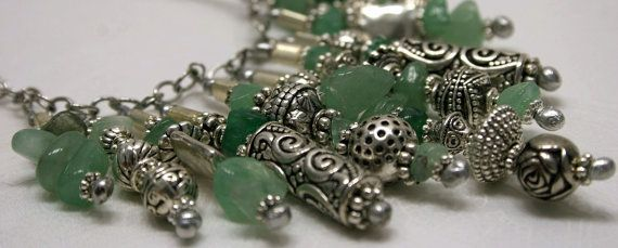 Silver and green stone necklace by jihidesigns on Etsy, $75.00