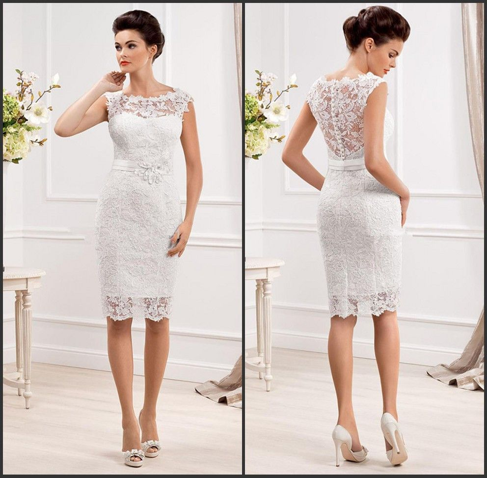 White A Line Wedding Dress Lace Wed Wedding Dress Cap Sleeves Short Lace Wedding Dress Knee Length Wedding Dress [ 973 x 992 Pixel ]