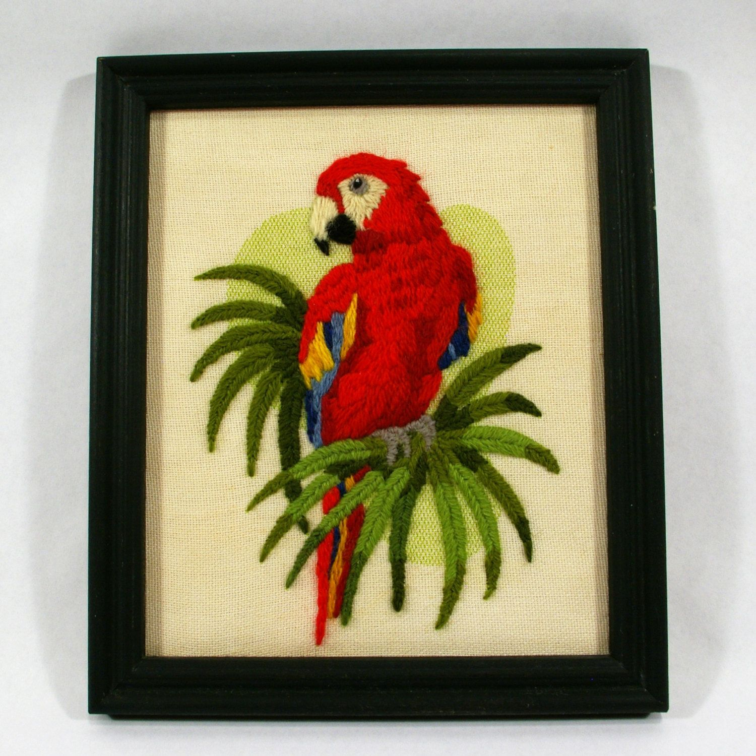 Tiki Parrot Picture, Vintage Embroidered Art, Tropical Macaw Parrot ...