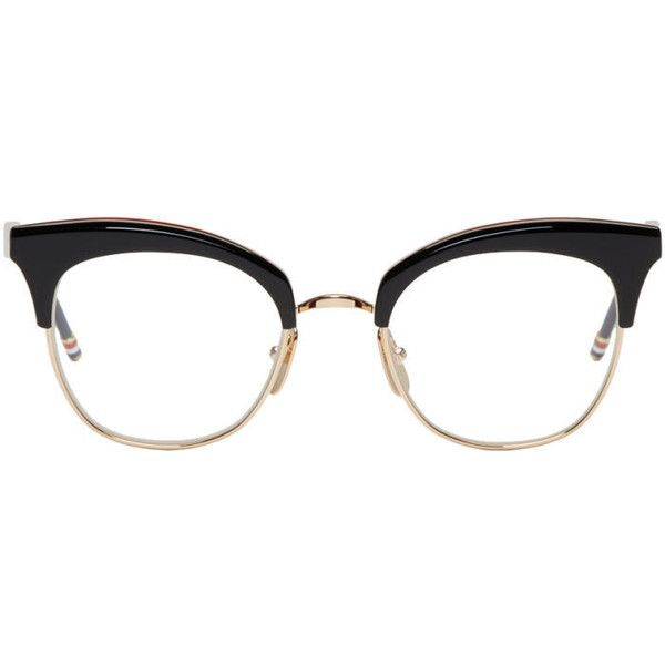 Thom Browne Black and Gold TB 507 Glasses (2.515 RON) ❤ liked on Polyvore featuring accessories, eyewear, eyeglasses, glasses, black, black and gold glasses, thom browne, colorful eyeglasses, black and gold eyeglasses and semi rimless eyeglasses