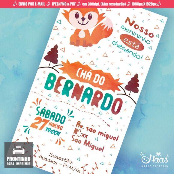 Convite Chá De Bebêfraldas Raposafox Formato Digital Convites