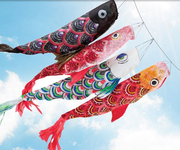 In japan children 39 s day is heralded by the appearance of for Japanese fish flag