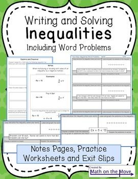 Writing And Solving Inequalities Including Word Problems Solving Inequalities Multi Step Inequalities Graphing Inequalities