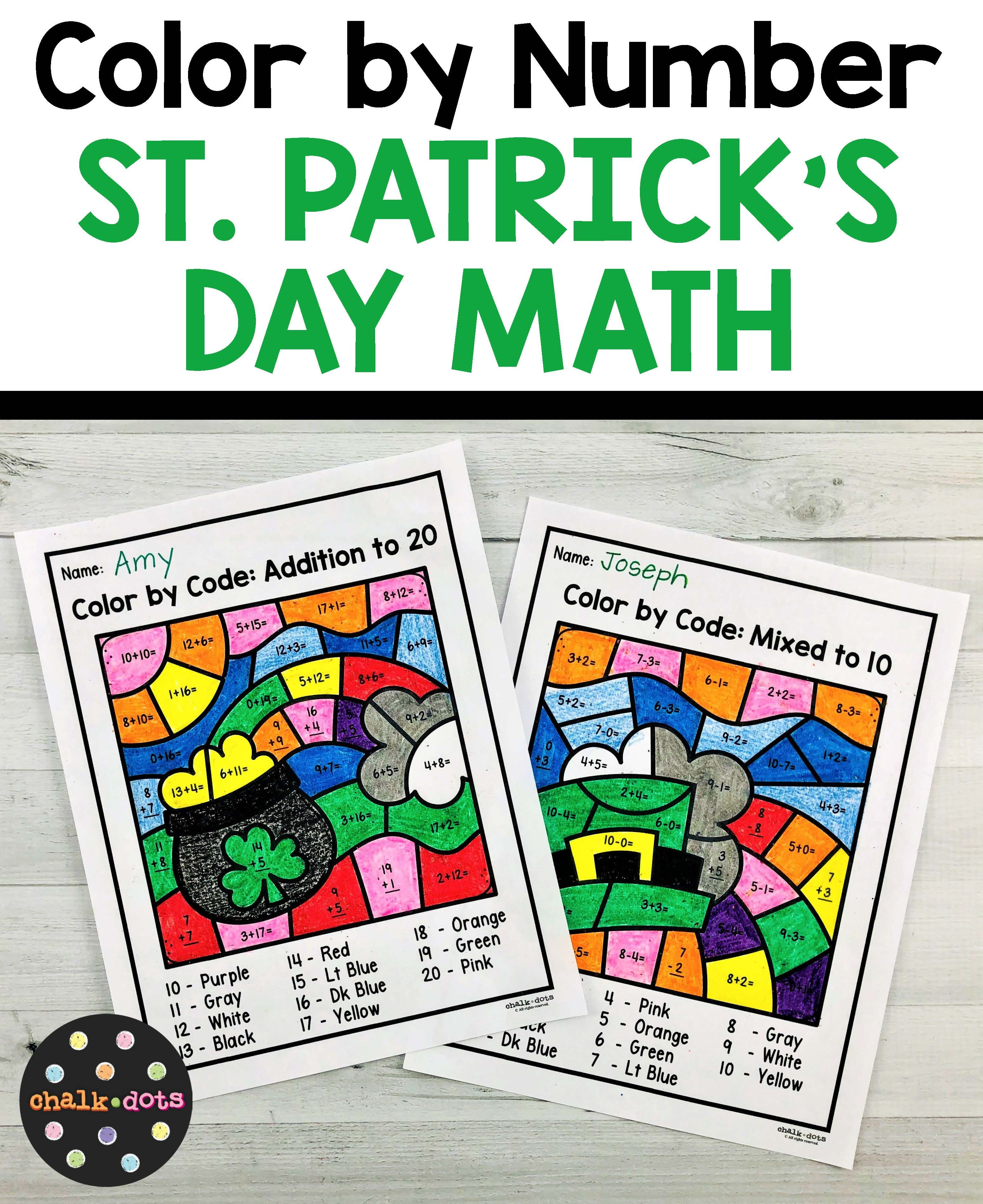 St Patrick S Day Math Color By Number In