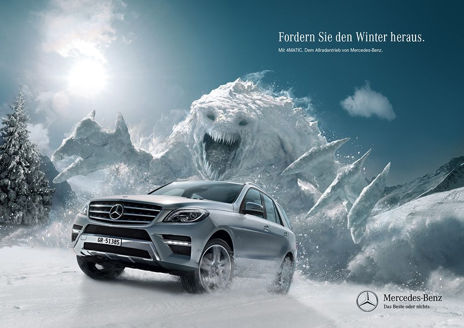 mercedes benz 4matic winter ads advertising auto werbung pinterest werbung. Black Bedroom Furniture Sets. Home Design Ideas