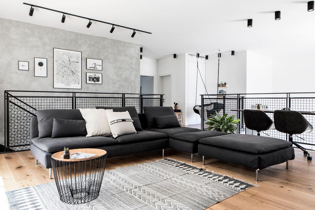 A Modern Monochromatic House In Nir Am Israel Living Room