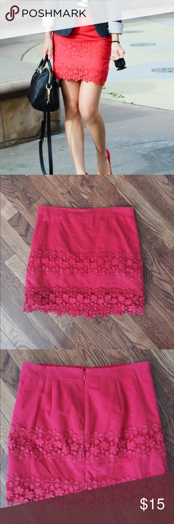 "J. Crew Daisy Lace mini Lace miniskirt in great condition. Reddish/pink color, as shown in first picture. Sits above waist. 16"" long. Typical J. crew 0. J. Crew Skirts Mini"