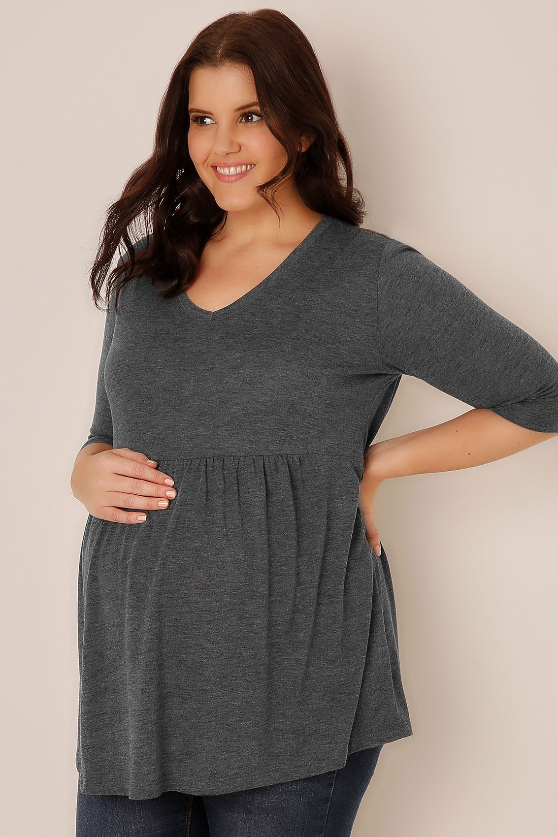 BUMP IT UP MATERNITY Wine Ruched Waist Longline Top, Plus