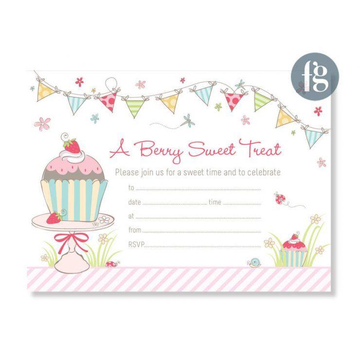 Birthday Cup Cake Party Invitations Original Cupcake Party - birthday cake card template