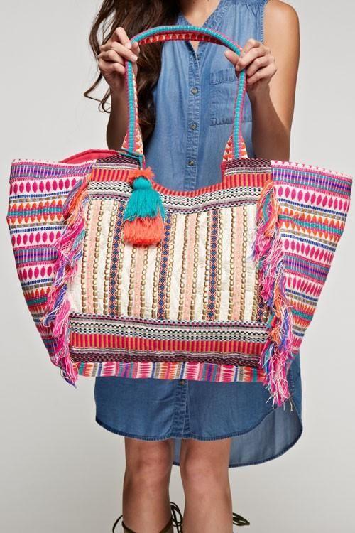 Bohemian Feliz Tassel Tote Bag Msrp 115 00 Oversized Vibrantly Colored Multi Pattern With Fringe Trim Gold Metallic