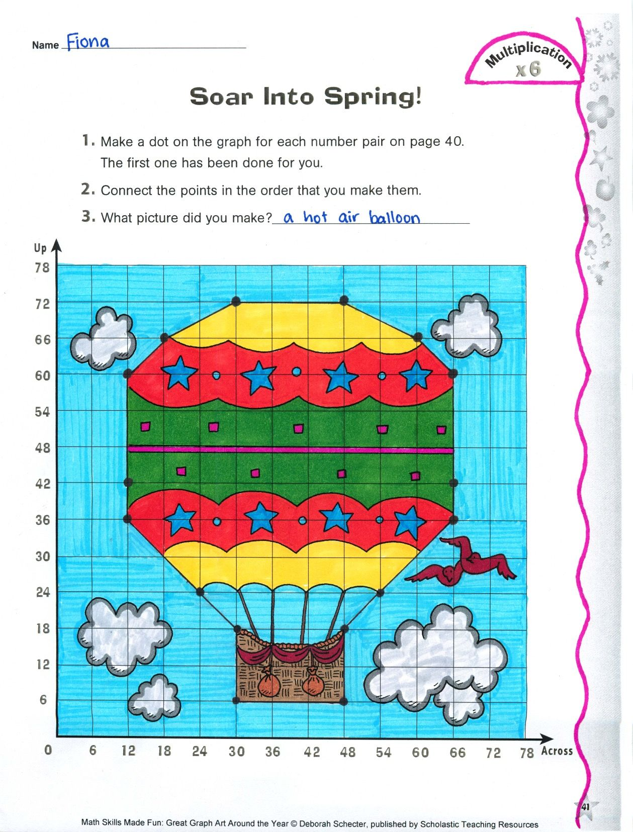 Soar Into Spring Coordinate Graphing With Multiplication
