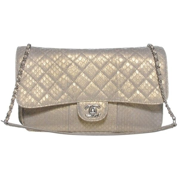 Pre Owned Chanel 2 55 Pearlized Quilted Python Metallic Iridescent Beige Pearl I Chanel Shoulder Bag Metallic Handbags Quilted Handbags
