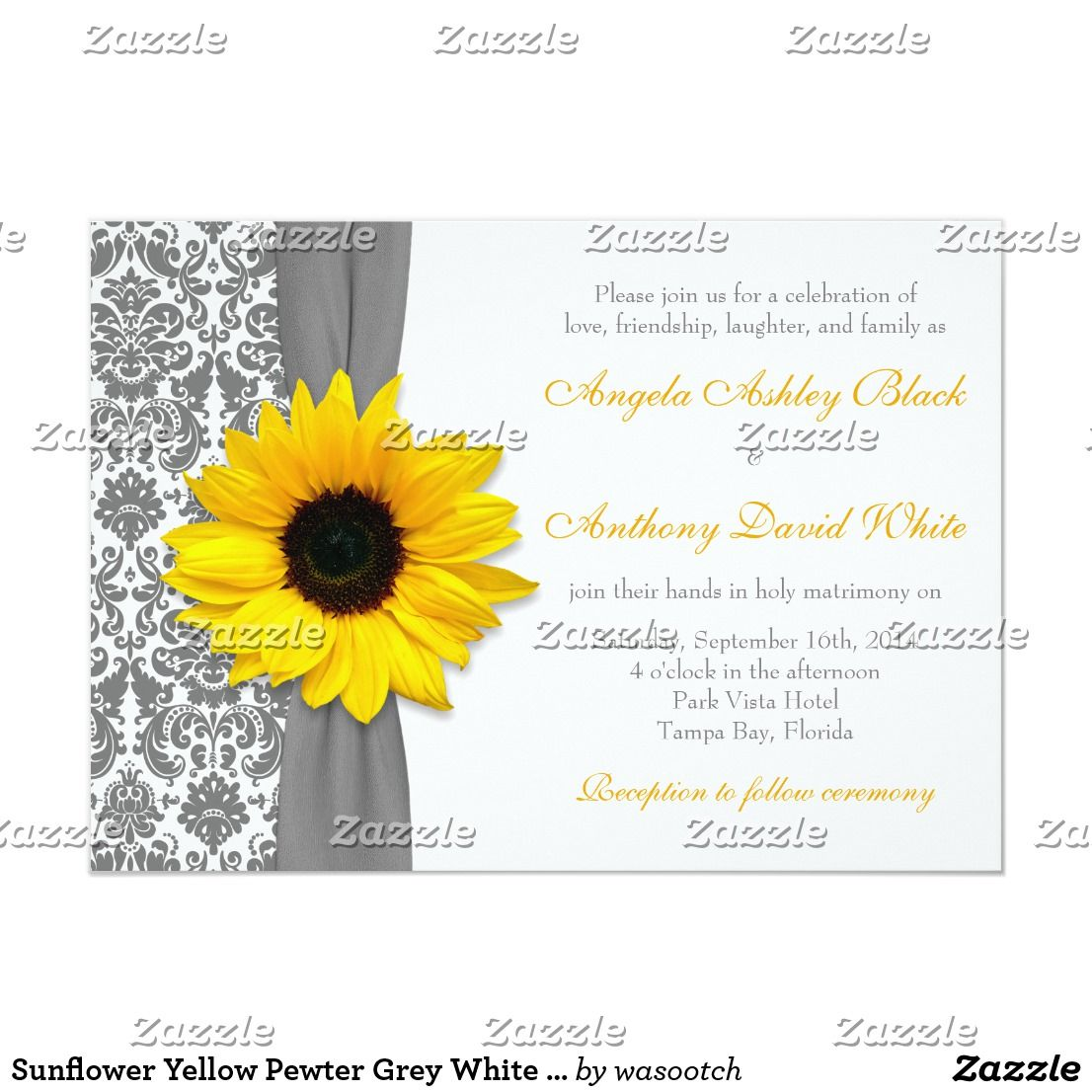 Sunflower Yellow Pewter Grey White Damask Wedding