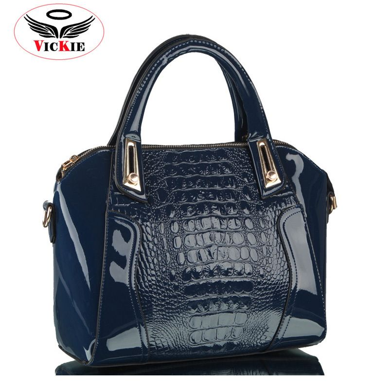 Bright Face Shoulder Bags Handbag Single Shoulder Bag Cross Bag Blue Horizontal Crocodile Pattern. Handbag
