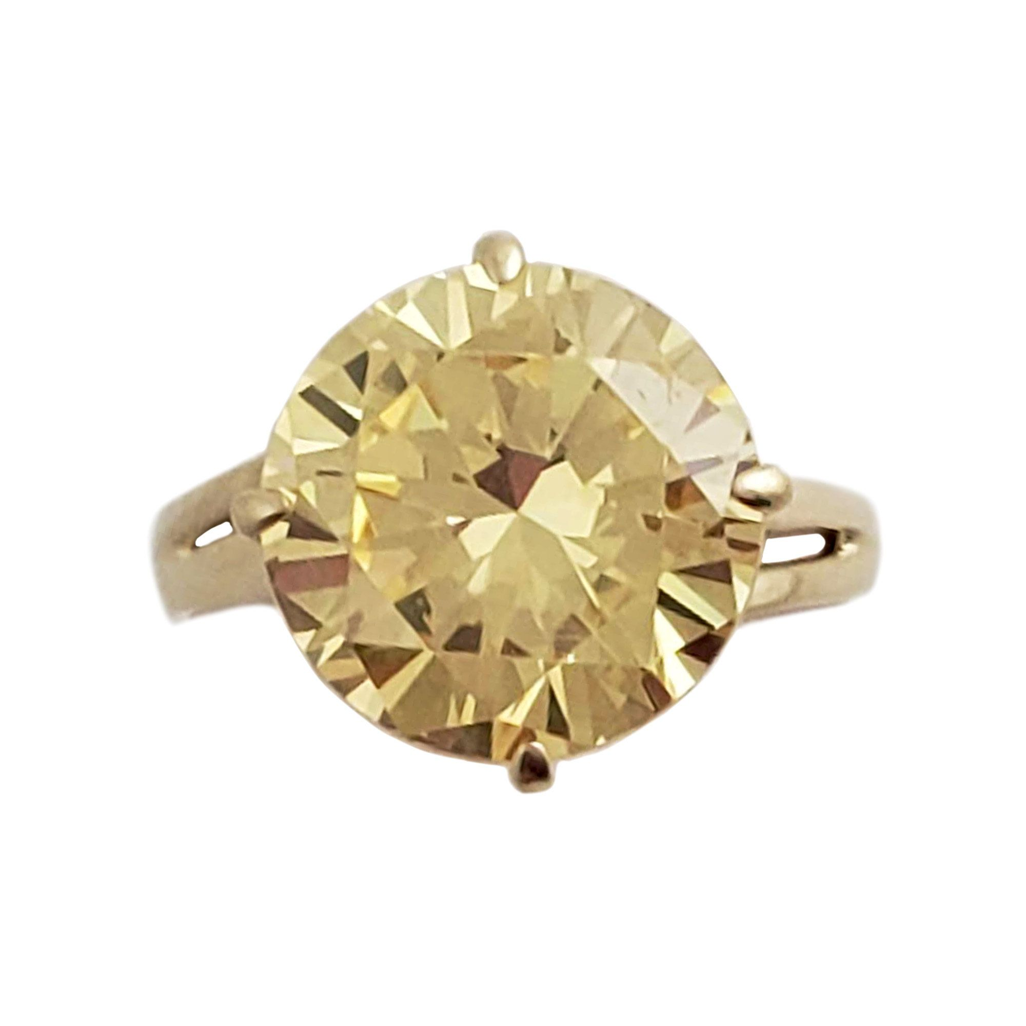 10k Gold And Cz Ring Light Yellow Round Gemstone Size 7 25 In 2020 Silver Rings Gold Rings Gemstones