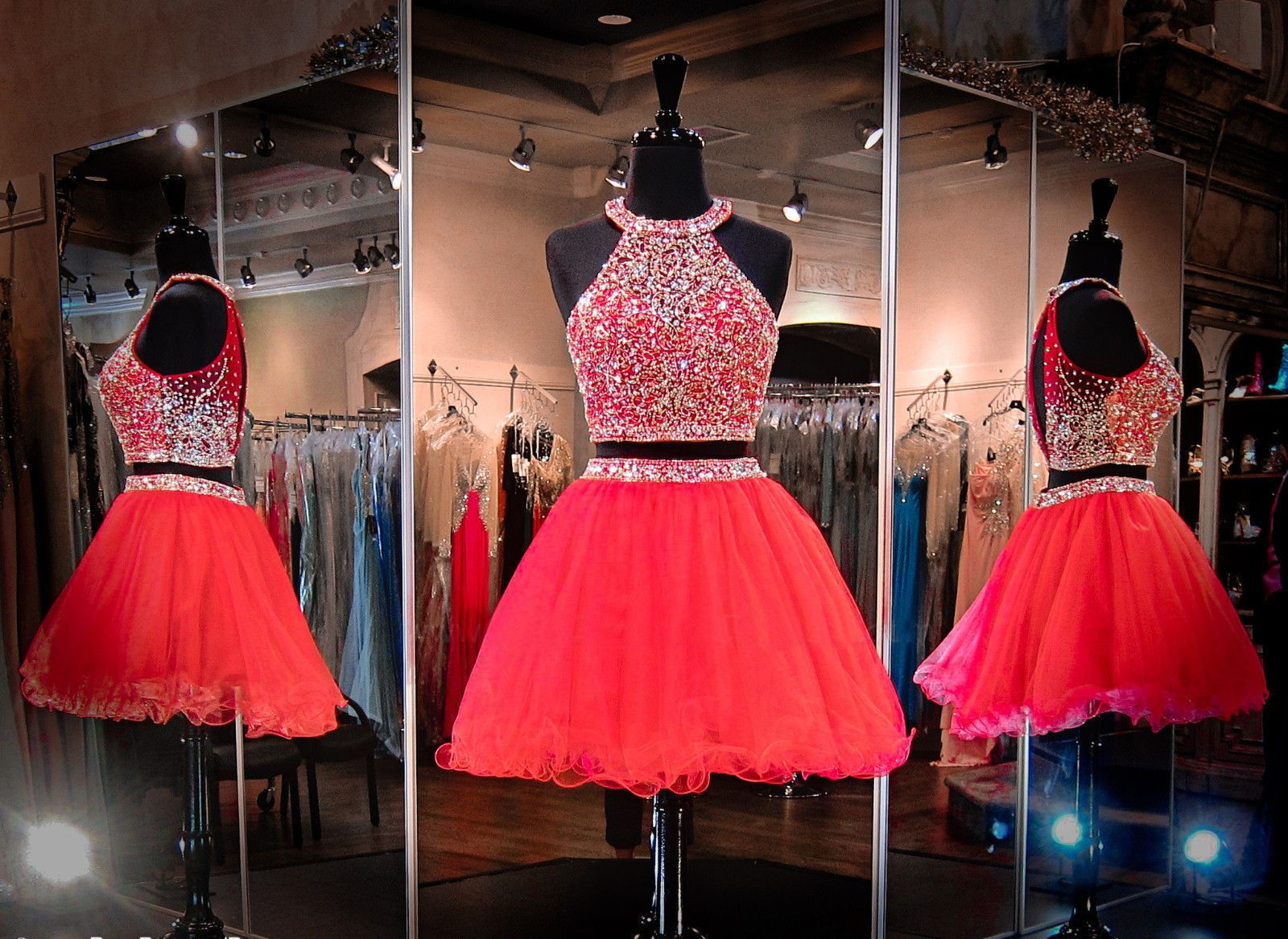 Nice red short two piece tulle prom dress cocktail ball evening