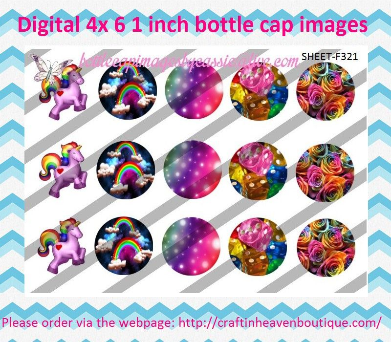 """1"""" Bottle Caps (4X6) F321 rainbows #1 #girly #cute #bottlecap #BCI #shrinkydinkimages #bowcenters #hairbows #bowmaking please purchase via link http://craftinheavenboutique.com/index.php?main_page=index&cPath=323_533_42_66"""