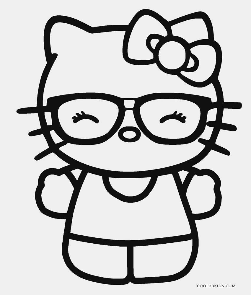 Hello Kitty With Glasses Coloring Pages