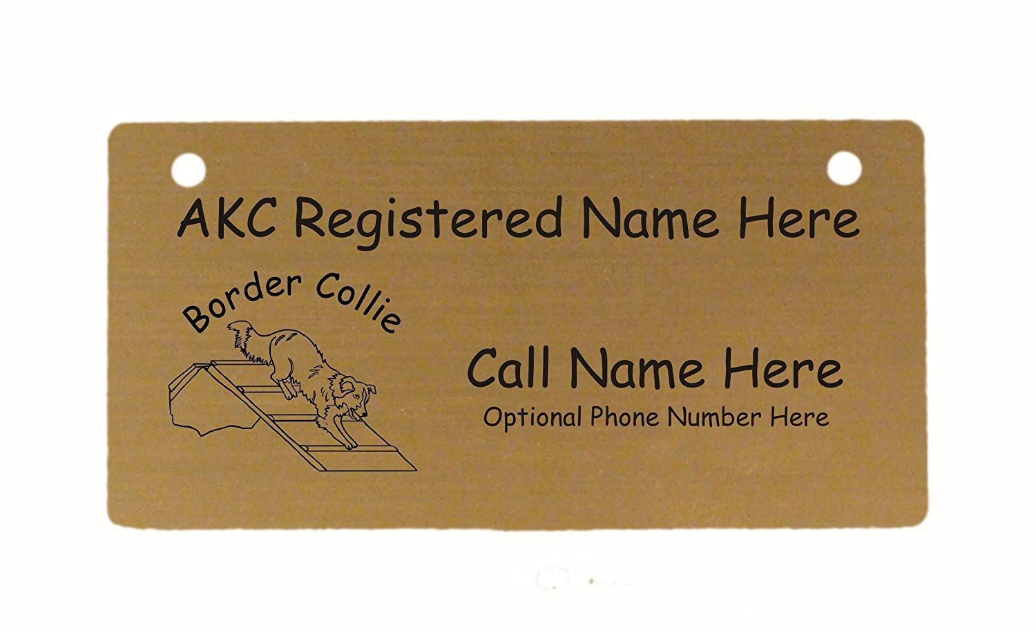 C1817 Border Collie A Frame Crate Tag Personalized With Your Dogs