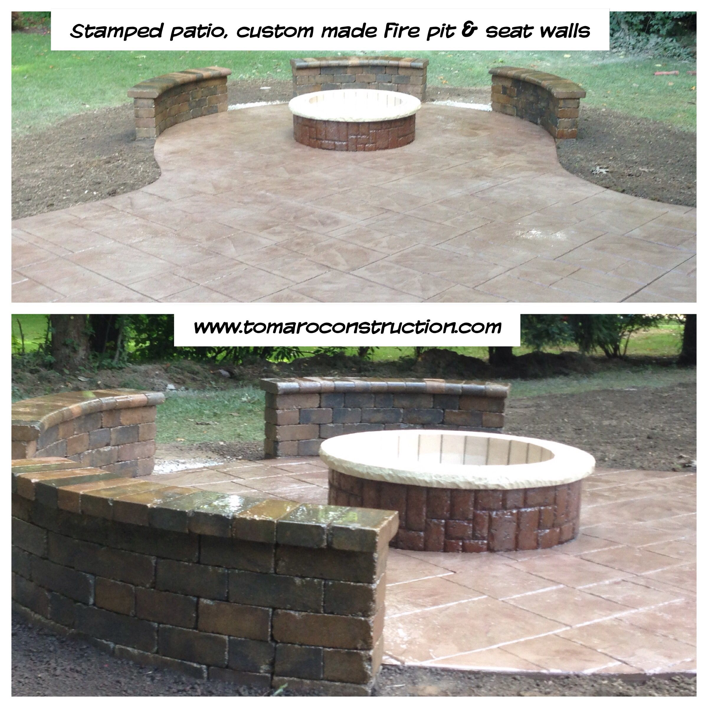 Stamped Concrete Patio With Custom Fire Pit & Seat Walls