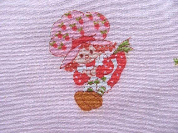 American vintage Fabric STRAWBERRY SHORT CAKE by jkun5218 on Etsy, $6.00