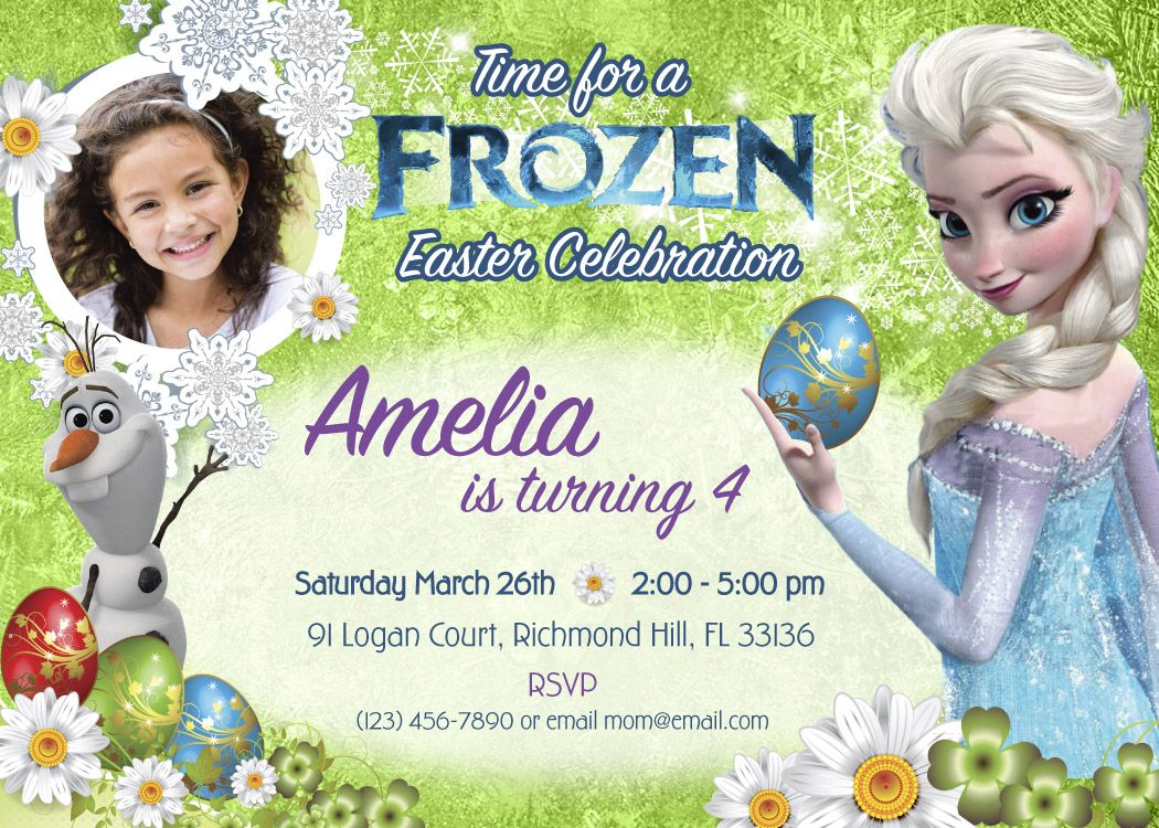 Easter Frozen Birthday Invitation Printable | Egg hunting Party ...