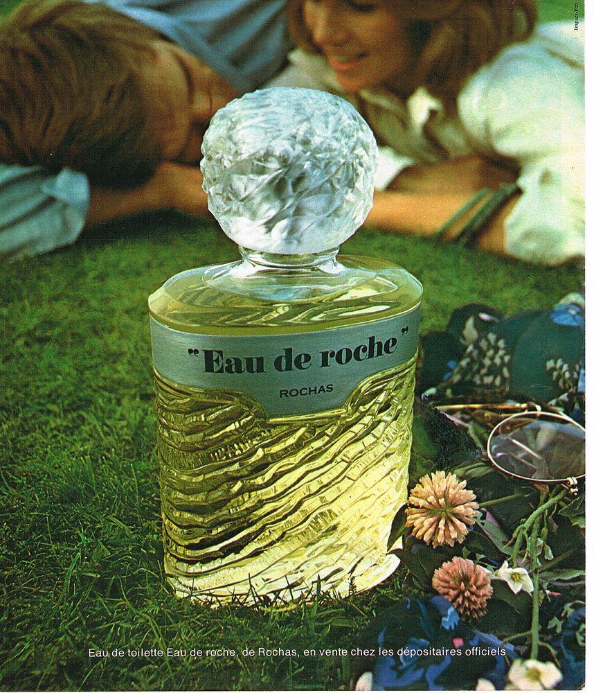 PUBLICITE ADVERTISING 055  1976  EAU DE ROCHE  eau de toilette de ROCHAS